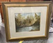 Sale 9082 - Lot 2052 - Enid Bradshaw Bushscape with River oil on canvas 71 x 81cm, signed