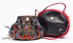 Sale 9170H - Lot 84 - A Fontanelli tri-colour handbag together with a bead embellished bag