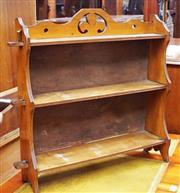 Sale 8320 - Lot 606 - Small satin walnut 3 shelf wall unit, in need of repolishing