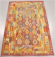 Sale 8438K - Lot 46 - Summer Afghan Tribal Kilim Rug | 347x240cm, Pure Wool, Finely handwoven in Northern Afghanistan using high quality local wool. Vibra...