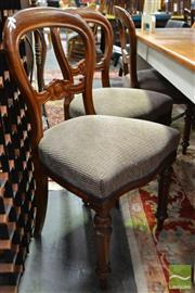 Sale 8507 - Lot 1080 - Set of Six Balloon Back Dining Chairs with Upholstered Seat & Turned Legs To Front