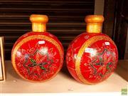 Sale 8582 - Lot 2382 - 2 Large Gilt & Red Vases