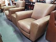 Sale 8669 - Lot 1053 - Pair of Italian Leather Upholstered Armchairs & Ottoman (3)