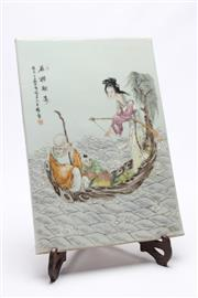 Sale 8673 - Lot 98 - Chinese Plaque Featuring Lady
