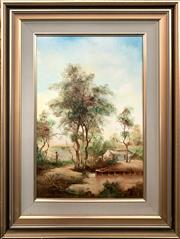 Sale 8686 - Lot 2067 - Norman Robins - Peaceful Afternoon oil on board, 49.5 x 29.5cm, signed lower right