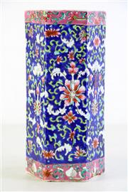 Sale 8989 - Lot 28 - A Famille Rose Hexagonal Chinese Vase with Floral Pattern (H26.5cm)