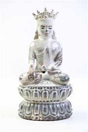 Sale 8997A - Lot 697 - Glazed teracotta seated buddha figure (H28cm)