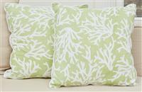 Sale 9090H - Lot 96 - A pair of green seaweed cushions, 37cm x 37cm