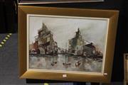 Sale 8323A - Lot 48 - Norman Robins (1914 - 1988) - Harbour Scene; Portrait (double-sided) 44.5 x 58.5cm