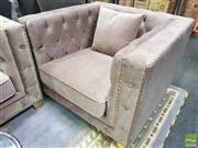 Sale 8440 - Lot 1021 - Soft Velvet Armchair with Diamond Buttoning and Gold Trim Detailing and Gold Metal Legs (H 73 x W 98 x D 95cm)