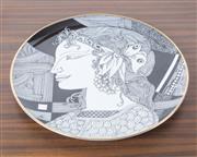 Sale 8486A - Lot 28 - A Hollohaza monochrome and gilt plate with female head, D 24cm