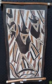 Sale 8587 - Lot 2066 - Mijalanggij Murwili Sword Fish, bark painting, 30x58cm -