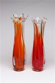 Sale 8739 - Lot 60 - Pair Of Orange Stemmed Vases H: 34cm