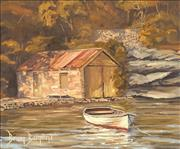 Sale 8764A - Lot 5008 - Brian Baigent (1929 - ) - Stone Boatshed, Hunters Hill 24 x 29cm