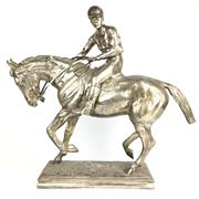 Sale 8795K - Lot 4 - A silver plated bronze figure of a horse and jockey.