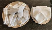 Sale 8908H - Lot 52 - A quantity of silver plated napkin holders together with napkins and two trays, one EP, largest tray diameter 36cm