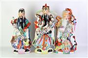 Sale 8902 - Lot 46 - A Set of 3 Large Immortal Figures Fuk Shou Lao (H 54cm)