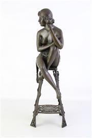 Sale 8905S - Lot 647 - A reproduction Art Noveau bronze of lady sitting on a stool. Height 57cm