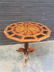 Sale 9048 - Lot 1087 - 19th Century Specimen Top Occasional Table, the 12 sided top with central star burst including birdseye maple, with ebonised panels...