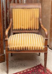 Sale 9060H - Lot 1 - Three timber framed French bergères with striped yellow velvet upholstery H 93 width 61cm.