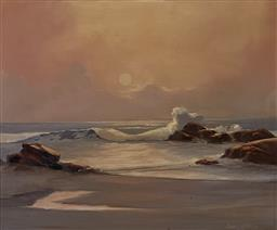 Sale 9123J - Lot 84 - DArcy Doyle- Beach Scene oil on board 49x59cn signed lower right