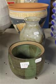 Sale 8327 - Lot 58 - Wombat Creek Painted Pottery Jardiniere & Two Other Studio Pottery Items -