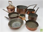 Sale 8439F - Lot 1816 - Seven Assorted Copper Saucepans and Copper Tea Pot (Largest 30cm, Smallest 12cm Diameter - Teapot H 29cm x W 20cm)