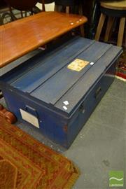 Sale 8480 - Lot 1150 - Rustic Blue Metal Trunk