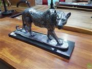 Sale 8601 - Lot 1471 - Silver Coloured Stalking Leopard Statue