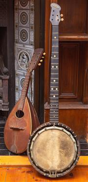 Sale 8625A - Lot 37 - A vintage banjo, needs attention, together with a mandolin, banjo length 80cm.