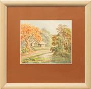 Sale 8668 - Lot 2019 - Roy Opie (1909 - 1968) Autumn Landscape , watercolour, 22 x 26cm, s.l.l -