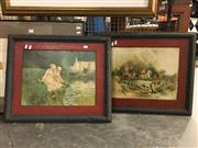 Sale 8776 - Lot 2081 - Pair of Vintage French Prints on Tin in Frames