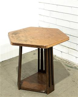 Sale 9157 - Lot 1033 - A repurposed Art Deco sidetable timber base with pressed metal top (h55 x d60cm) -