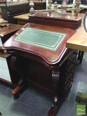 Sale 8412 - Lot 1041 - Carved Timber Davenport with Green Leather Inlaid Writing Slope