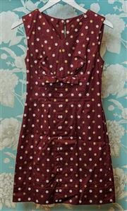 Sale 8420A - Lot 82 - An original 1960s polka dot shift dress with bow, label reads John J Hilton, cotton blend, size: XXS (6/8), metal zipper at back, c...