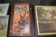 Sale 8419T - Lot 2034 - Persia Foran - Sail Away Boat, 1919, oil on canvas, 60 x 29.5cm, signed and dated lower left
