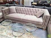 Sale 8440 - Lot 1022 - Soft Velvet Three Seat Sofa with Diamond Buttoning and Gold Trim Detailing and Gold Metal Legs (H 73 x W 218 x D 95cm)