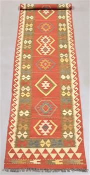 Sale 8438K - Lot 49 - Summer Afghan Tribal Kilim Runner | 399x84cm, Pure Wool, Finely handwoven in Northern Afghanistan using high quality local wool. Vib...
