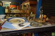 Sale 8509 - Lot 2269 - Group of Sundries incl Hurricane Lamp & Wedgwood Platter