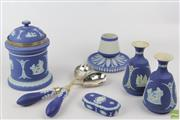 Sale 8604W - Lot 82 - Cobalt Blue Jasperware Pieces Including Rare Match Striker from 1867