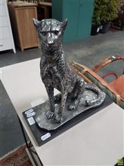 Sale 8601 - Lot 1512 - Silver Coloured Sitting Leopard Statue