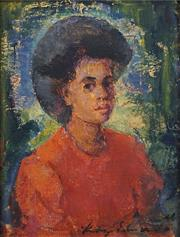 Sale 8675 - Lot 504 - Mary Edwards (1894 - 1988) - Portrait of Woman 11.5 x 9cm