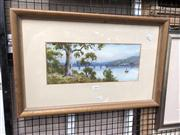 Sale 8819 - Lot 2045 - W. Lindley - Hawkesbury River Rail Bridge, Watercolour, SLL, 15x36cm