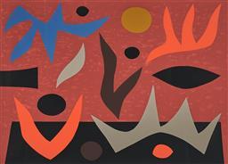 Sale 9161 - Lot 530 - JOHN COBURN (1926 - 2005) Fire Dance screenprint, ed. 36/150 51.5 x 71.5 cm (frame: 75 x 94 x 2 cm) signed lower right