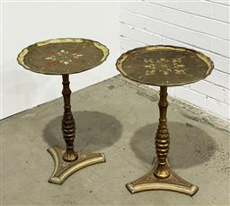 Sale 9157 - Lot 1006 - Pair of Italian Wine Tables, handpainted and gilded with decorative inlaid tops (h56 x d59cm) -