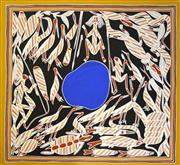 Sale 8288A - Lot 83 - Kenneth Wark Yungamulwoi (c.1947 - ) - Hunting for Bush Tucker around Billabong, 2004 114 x 121.5 (framed & ready to hang)