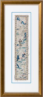 Sale 8346A - Lot 91 - Oriental school, Antique framed silk needlework depicting warriors in landscape, 82 x 36cm inc. framing