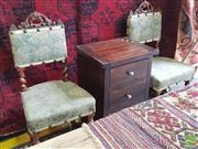 Sale 8428 - Lot 1077 - Pair 19th century French oak sidechairs with studded upholstery