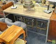 Sale 8440 - Lot 1049 - Large Bar Table with Reclaimed Oak Top and Rustic Textured Verdi Green / Grey Steel Base (H 108 x L 180 x W 75cm)
