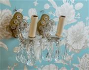 Sale 8500A - Lot 7 - A pair of vintage Czech crystal single light wall sconces featuring decorative crystal cups, crystal tear drop pendants & crystal sp...